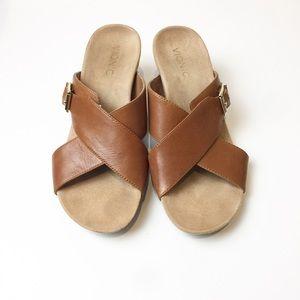 VIONIC Libbie Leather Wedge Slides